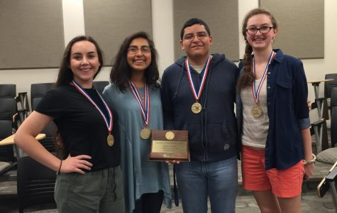 2015-16 Literary Criticism team shows off their medals from regional competition.