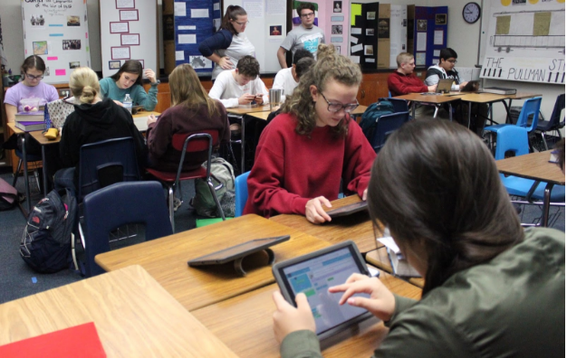 Sabrina Perez, Kayla Smith, and the rest of Mrs. Lewis' action class participate in Hour of Code on December 13th.