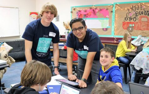 High School Students Teach Elementary Kids Hour Of Code