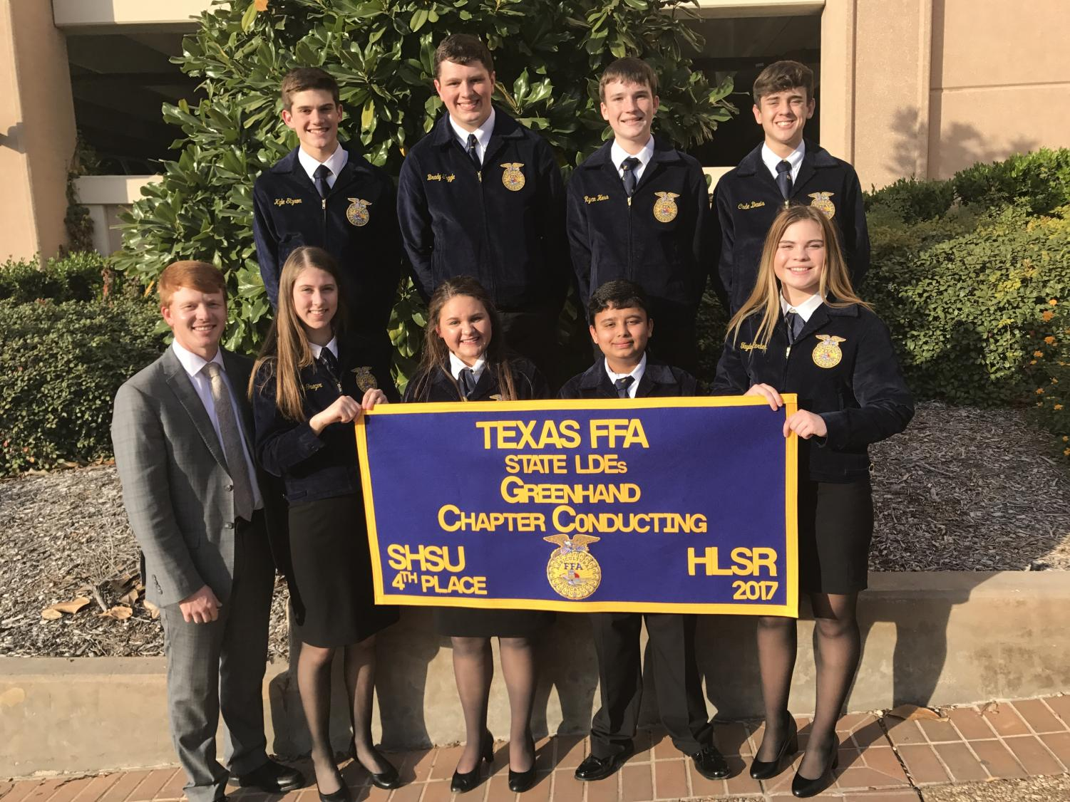 Top Row (L to R): Kyle Styron, Brady Tuggle, Ryan Hess, Cade Davis Bottom Row (L to R): Mr. Best, Maggie McGregor, Chloe Krause, Subarna Pokhrel, Taylor Carter.  These FFA members competed in the chapter conducting event and placed fourth. This is one of numerous events that FFA participated in this past year. Photo credit to Mrs. Bowers.