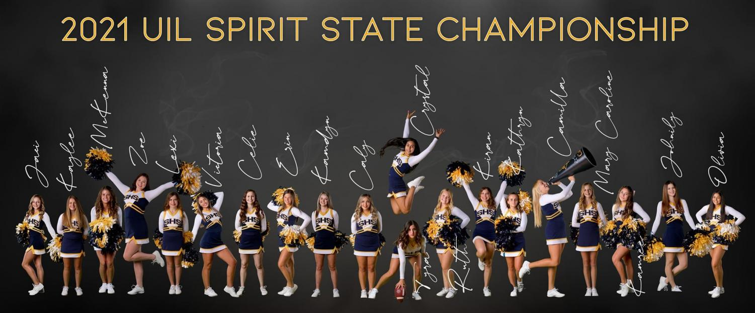 The cheer squad competes at the 2021 UIL Spirit State Championship.